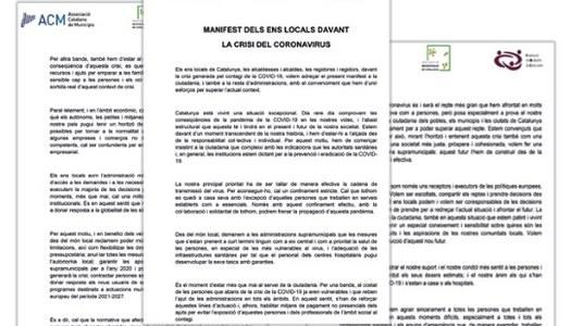 Suport i adhesió de l'Ajuntament de Sanaüja al Manifest dels Ens Locals davant la Crisi del coronavirus